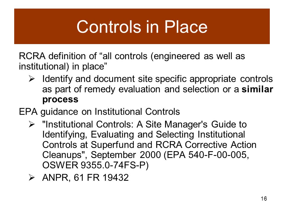 15 Institutional Controls Could Include...