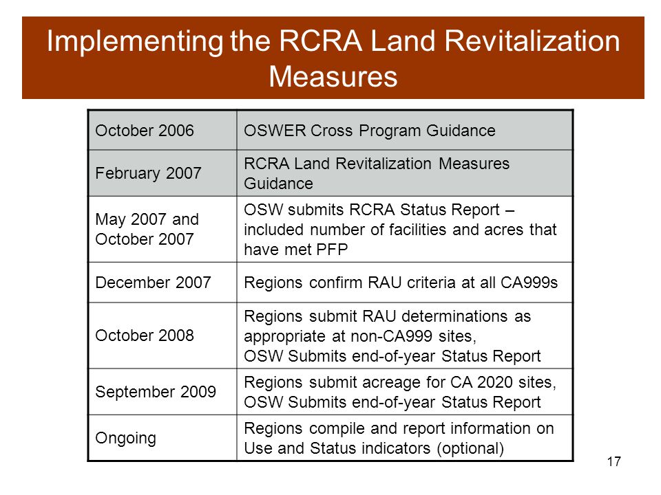 16 Controls in Place RCRA definition of all controls (engineered as well as institutional) in place  Identify and document site specific appropriate controls as part of remedy evaluation and selection or a similar process EPA guidance on Institutional Controls  Institutional Controls: A Site Manager s Guide to Identifying, Evaluating and Selecting Institutional Controls at Superfund and RCRA Corrective Action Cleanups , September 2000 (EPA 540-F-00-005, OSWER 9355.0-74FS-P)  ANPR, 61 FR 19432