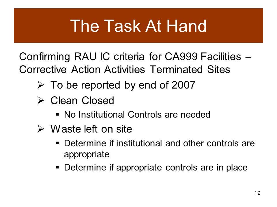 18 Working Towards RAU Determinations Facilities with a CA999 automatically receive an RAU determination Facilities with a CA550 and with needed IC s in place can get an RAU determination.