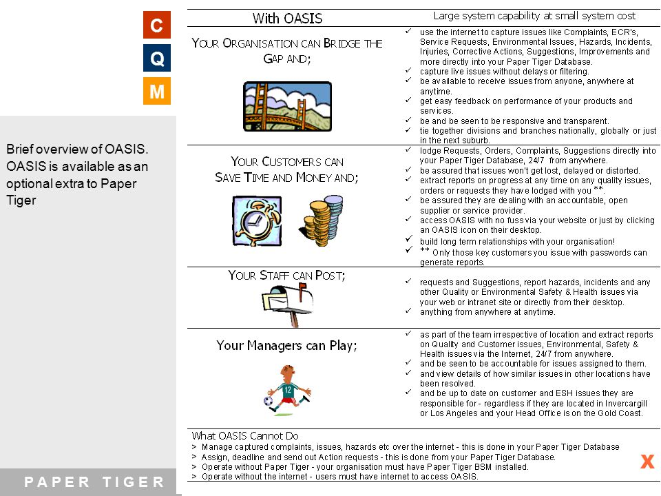 P A P E R T I G E R WEBSITE www.papertigerxt.com EMAIL papertiger@xtra.co.nz C Q M Brief overview of OASIS.