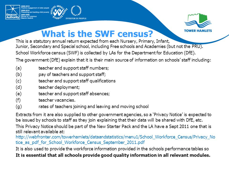 This session of our workshop is an overview of the School Workforce processes that schools will follow in order to: 1.