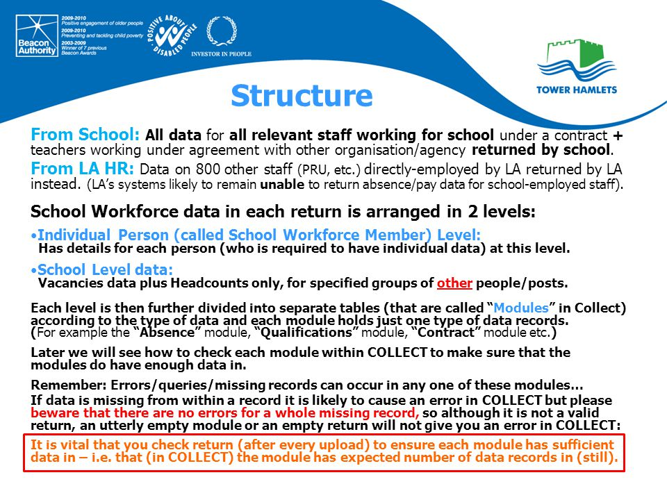 Structure From School: All data for all relevant staff working for school under a contract + teachers working under agreement with other organisation/agency returned by school.