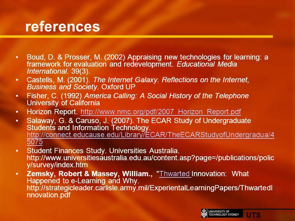 UTS references Boud, D. & Prosser, M.