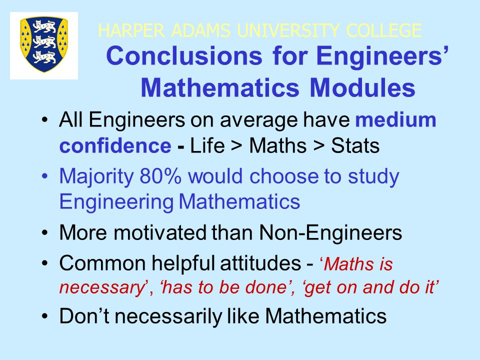HARPER ADAMS UNIVERSITY COLLEGE Conclusions for Engineers' Mathematics Modules All Engineers on average have medium confidence - Life > Maths > Stats Majority 80% would choose to study Engineering Mathematics More motivated than Non-Engineers Common helpful attitudes - 'Maths is necessary', 'has to be done', 'get on and do it' Don't necessarily like Mathematics