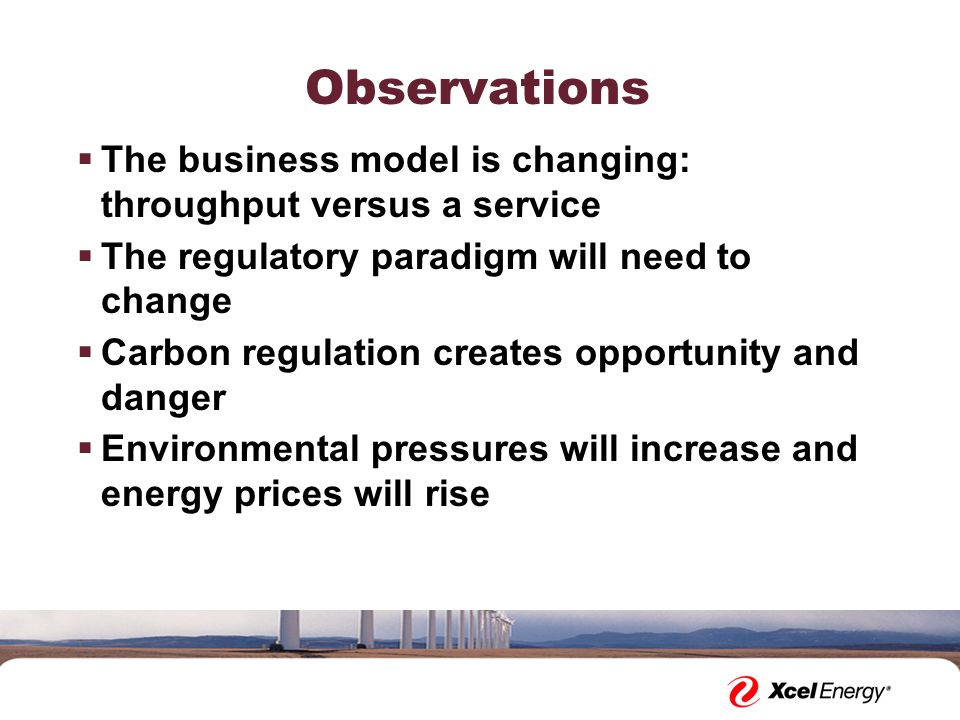 Observations  The business model is changing: throughput versus a service  The regulatory paradigm will need to change  Carbon regulation creates opportunity and danger  Environmental pressures will increase and energy prices will rise