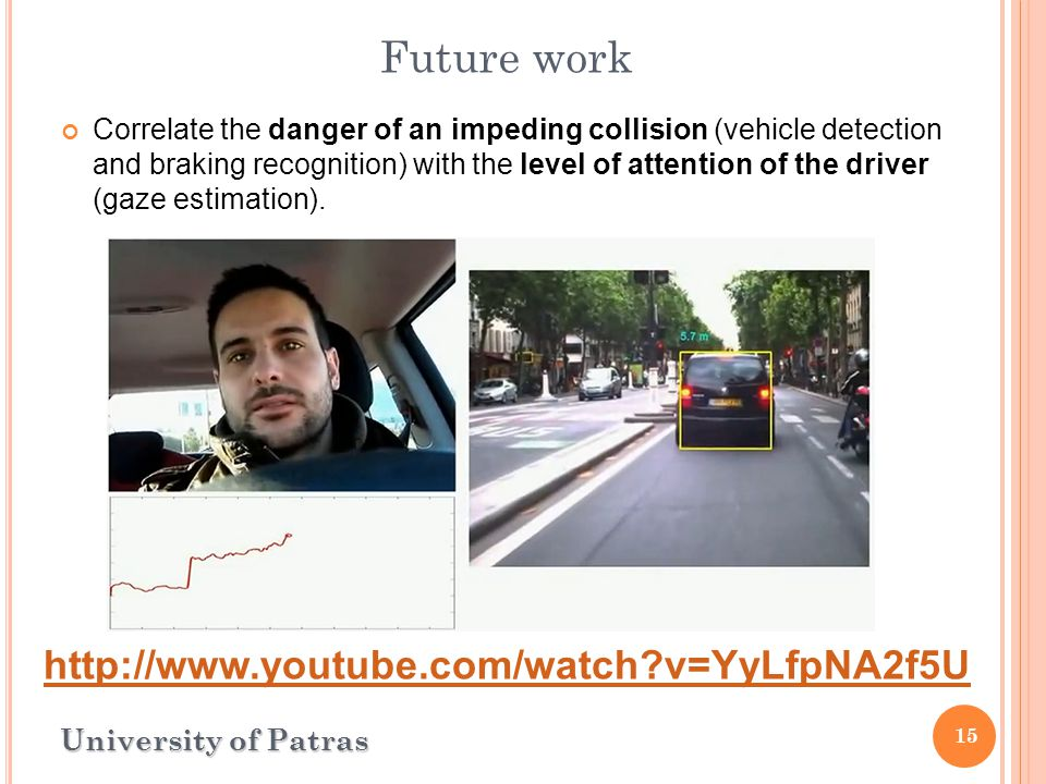15 University of Patras Future work Correlate the danger of an impeding collision (vehicle detection and braking recognition) with the level of attention of the driver (gaze estimation).