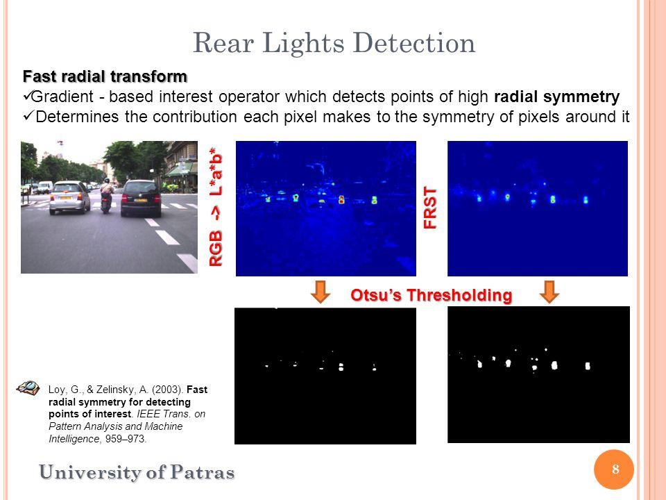 8 Rear Lights Detection University of Patras Fast radial transform Gradient - based interest operator which detects points of high radial symmetry Determines the contribution each pixel makes to the symmetry of pixels around it Loy, G., & Zelinsky, A.