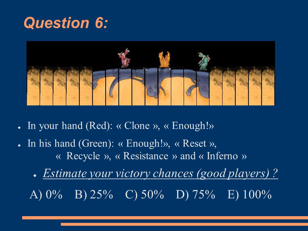 Question 6: ● In your hand (Red): « Clone », « Enough!» ● In his hand (Green): « Enough!», « Reset », « Recycle », « Resistance » and « Inferno » ● Es