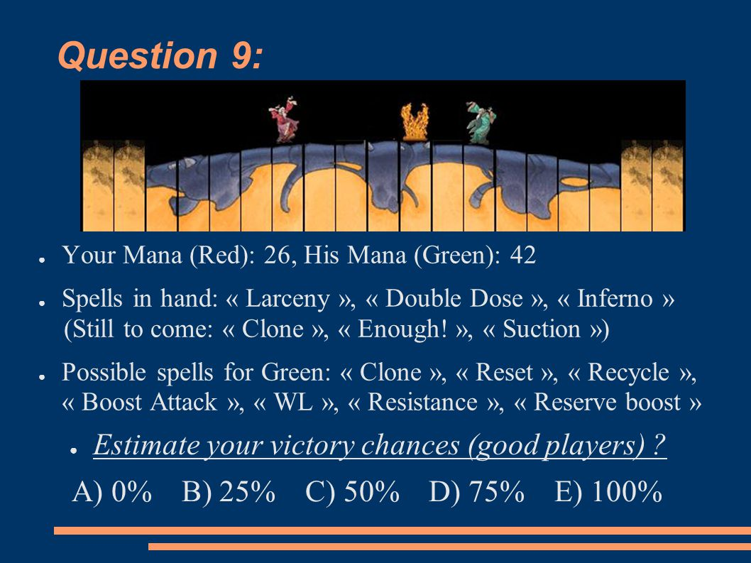 Question 9: ● Your Mana (Red): 26, His Mana (Green): 42 ● Spells in hand: « Larceny », « Double Dose », « Inferno » (Still to come: « Clone », « Enough.