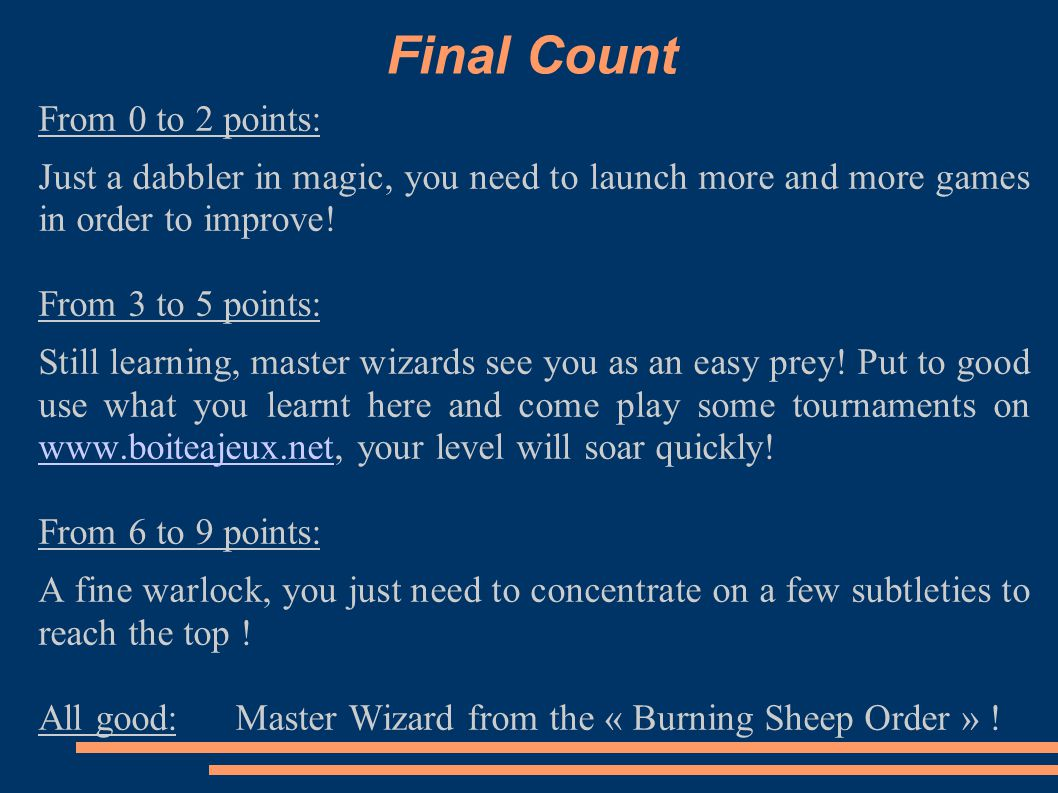 Final Count From 0 to 2 points: Just a dabbler in magic, you need to launch more and more games in order to improve.