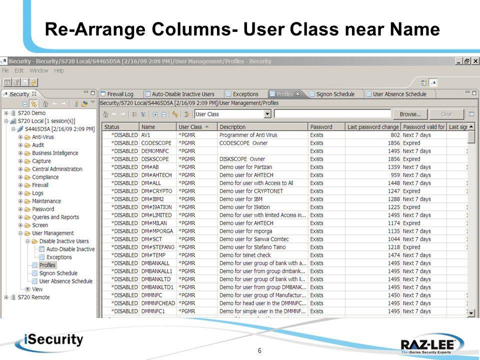 6 Re-Arrange Columns- User Class near Name