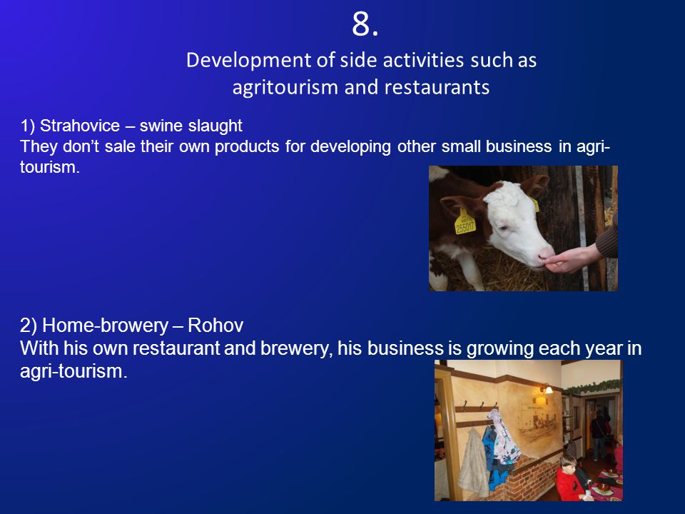 8. Development of side activities such as agritourism and restaurants 1) Strahovice – swine slaught They don't sale their own products for developing