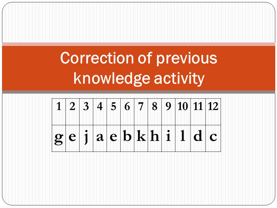 Correction of previous knowledge activity 123456789101112 gejaebkhildc