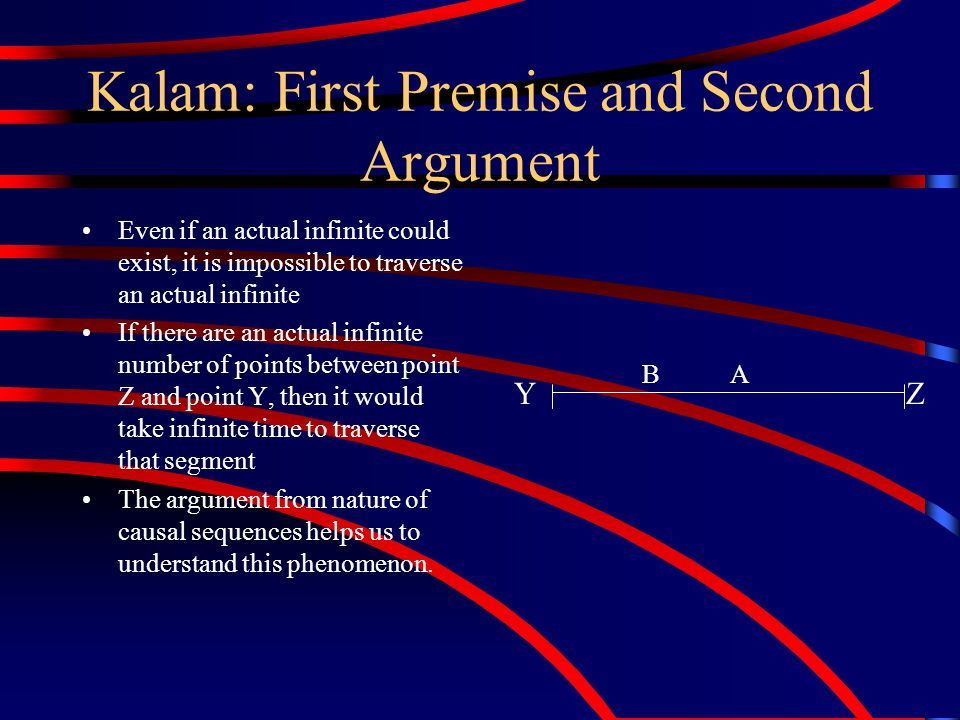 Kalam: First Premise and First Argument Since an actual infinite cannot exist, then there is a finite number of past events in this universe.