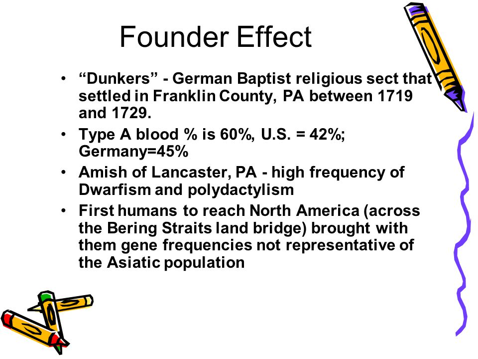 Founder Effect The difference between the gene pool of a population as a whole and that of a newly isolated population of the same species. Occurs whe