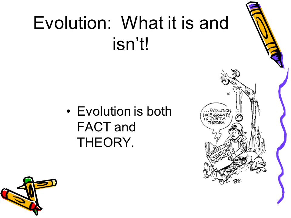 Evolution: What it is and isn't! Evolution is both FACT and THEORY.