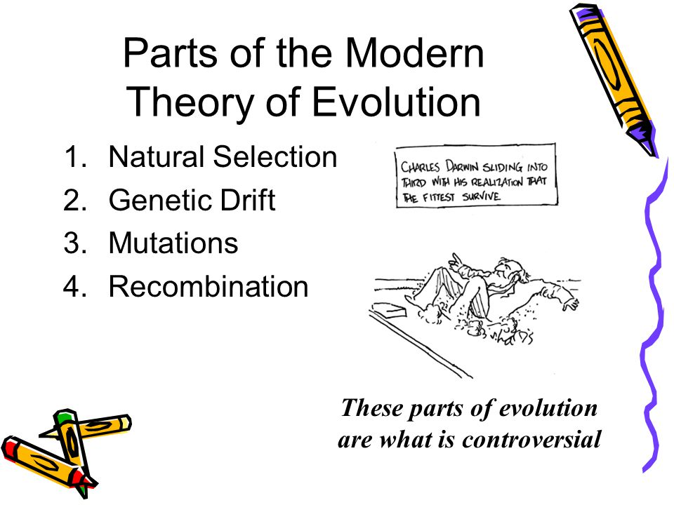 Theory of Evolution The Theory part of evolution is what is controversial. The theory describes HOW these population changes happen. Darwin and Lamarc