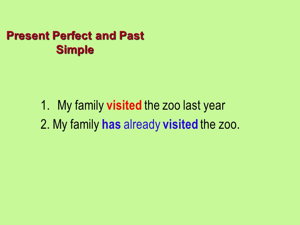 Present Perfect and Past Simple 1.My family visited the zoo last year 2. My family has already visited the zoo.