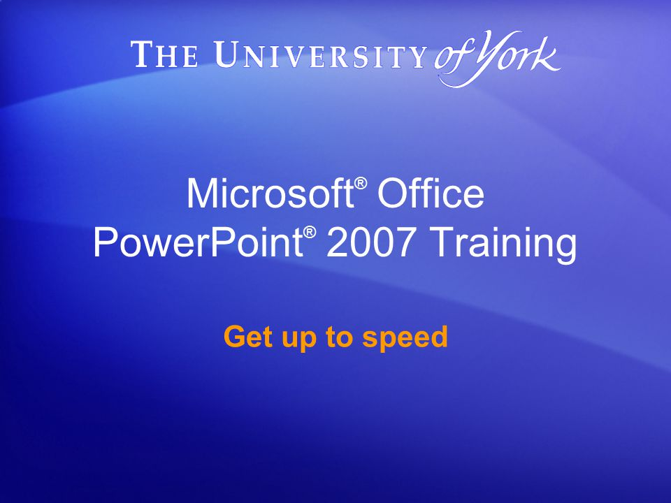 Up to speed with PowerPoint 2007 Converting your old presentations If you want, you can convert an older presentation to the new file format.