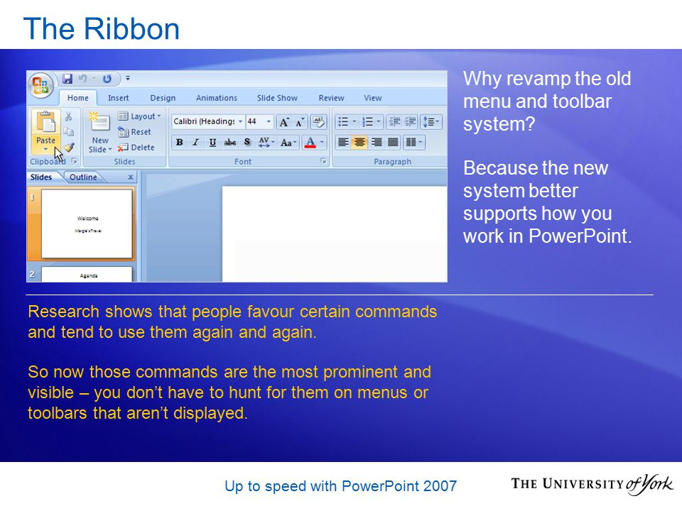 Up to speed with PowerPoint 2007 Sharing documents – Q & A When you save in the earlier file format, the compatibility checker will warn you about any features you have used that are not supported in that version.