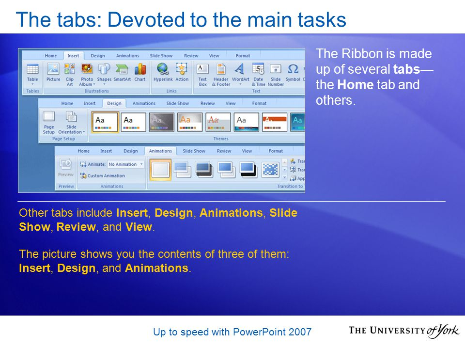 Up to speed with PowerPoint 2007 Display the galleries PowerPoint often offers many choices for something, such as styles for a shape, or types of WordArt or animation effects.