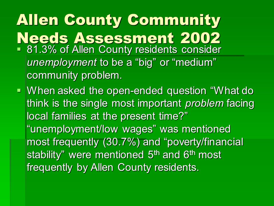 Allen County Community Needs Assessment 2002 Continued…  28.6 % of Allen County residents have cut the size of meals or skipped meals because there was not enough money to buy food compared to 15.8 % national survey.