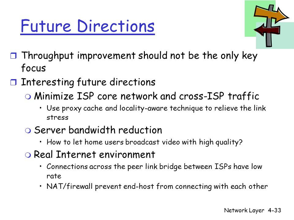 Network Layer4-33 Future Directions r Throughput improvement should not be the only key focus r Interesting future directions m Minimize ISP core network and cross-ISP traffic Use proxy cache and locality-aware technique to relieve the link stress m Server bandwidth reduction How to let home users broadcast video with high quality.
