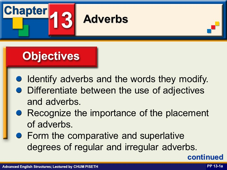 Business English at Work Adverbs Advanced English Structures; Lectured by CHUM PISETH Objectives Identify adverbs and the words they modify.
