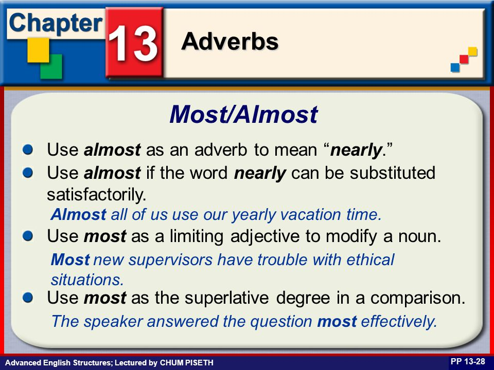 Business English at Work Adverbs Advanced English Structures; Lectured by CHUM PISETH Most/Almost PP 13-28 Use almost as an adverb to mean nearly. Use almost if the word nearly can be substituted satisfactorily.