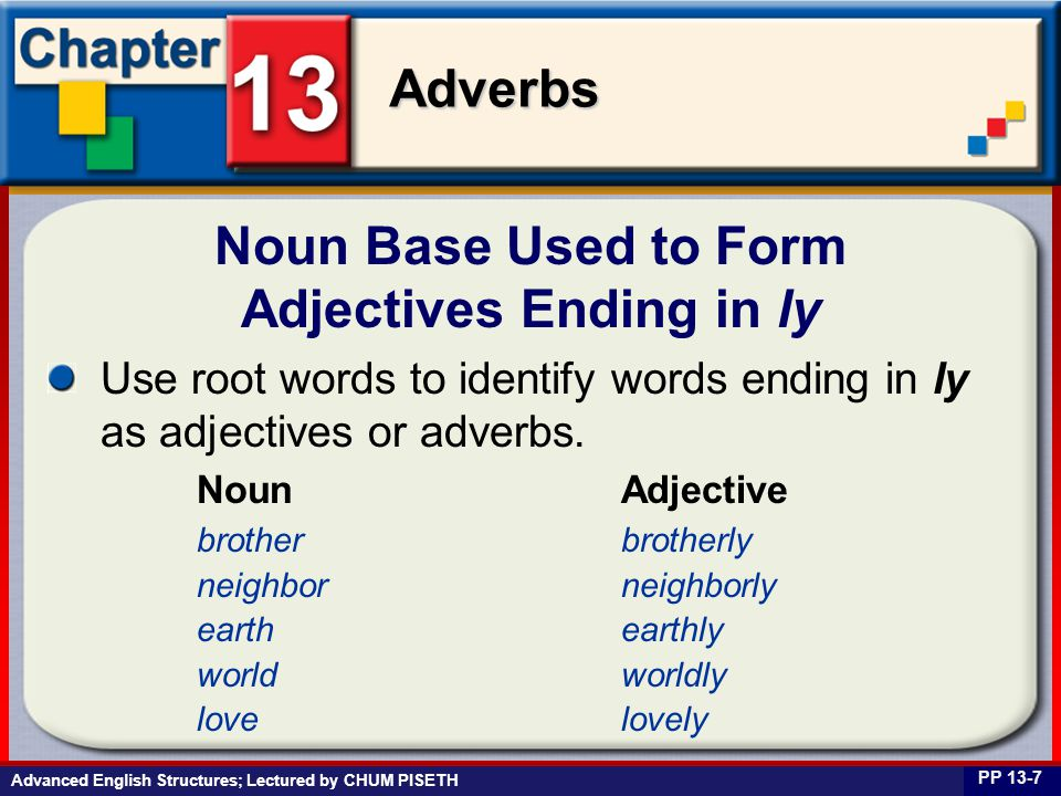 Business English at Work Adverbs Advanced English Structures; Lectured by CHUM PISETH Noun Base Used to Form Adjectives Ending in ly PP 13-7 Use root words to identify words ending in ly as adjectives or adverbs.