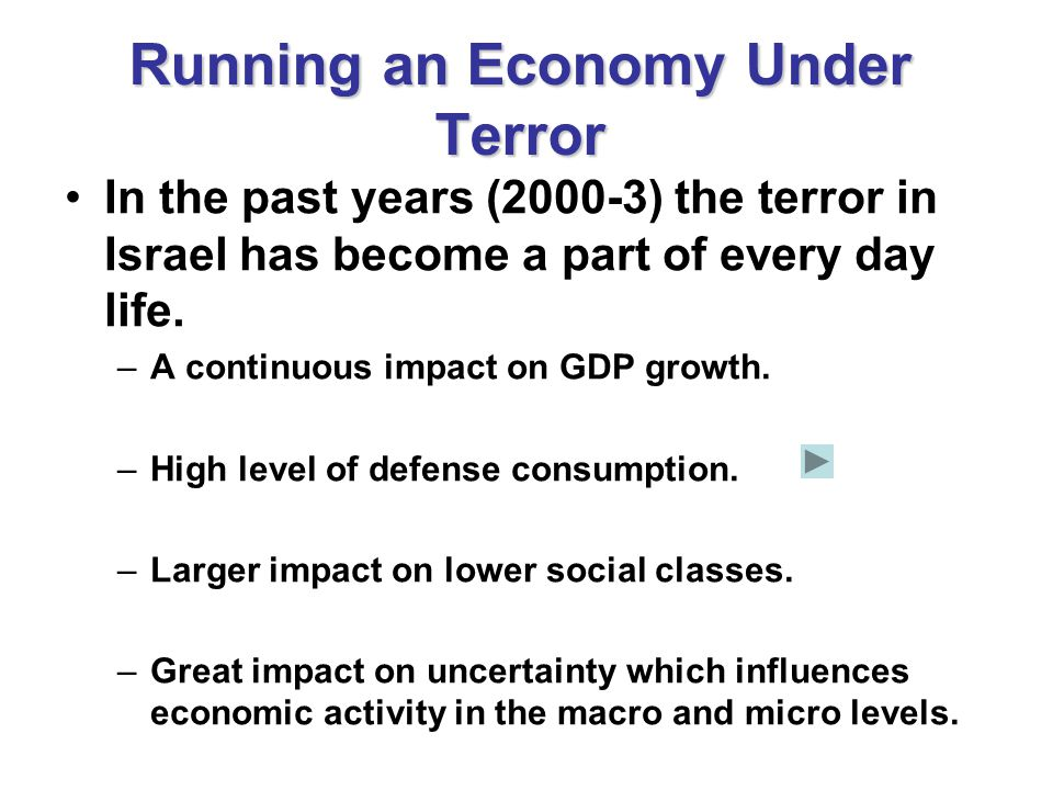 Running an Economy Under Terror In the past years (2000-3) the terror in Israel has become a part of every day life.