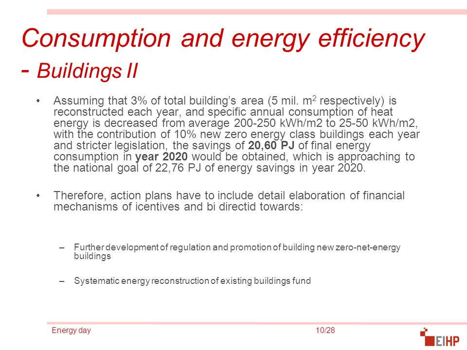 Energy day 10/28 Consumption and energy efficiency - Buildings II Assuming that 3% of total building's area (5 mil. m 2 respectively) is reconstructed