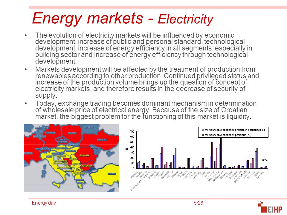 Energy day 6/28 Energy markets - Oil In Croatia, oil products take a very big share (almost 50% in final energy demand) Specifics of the oil markets with respect to other energy sectors are reflected mainly in high level of competition, that mostly derives from different possibilites of products transport.