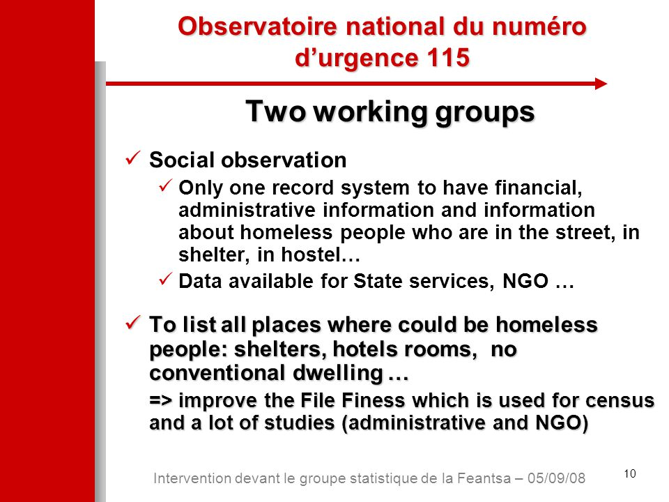 10 Intervention devant le groupe statistique de la Feantsa – 05/09/08 Observatoire national du numéro d'urgence 115 Two working groups Social observation Only one record system to have financial, administrative information and information about homeless people who are in the street, in shelter, in hostel… Data available for State services, NGO … To list all places where could be homeless people: shelters, hotels rooms, no conventional dwelling … To list all places where could be homeless people: shelters, hotels rooms, no conventional dwelling … => improve the File Finess which is used for census and a lot of studies (administrative and NGO)