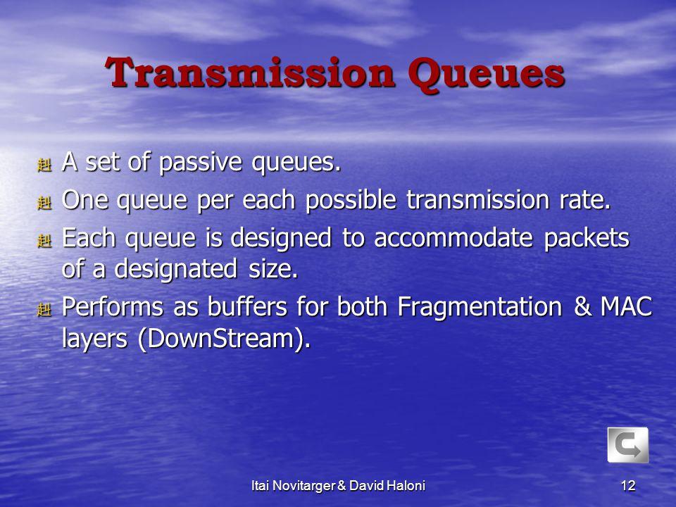 Itai Novitarger & David Haloni12 Transmission Queues 赳 A set of passive queues. 赳 One queue per each possible transmission rate. 赳 Each queue is desig