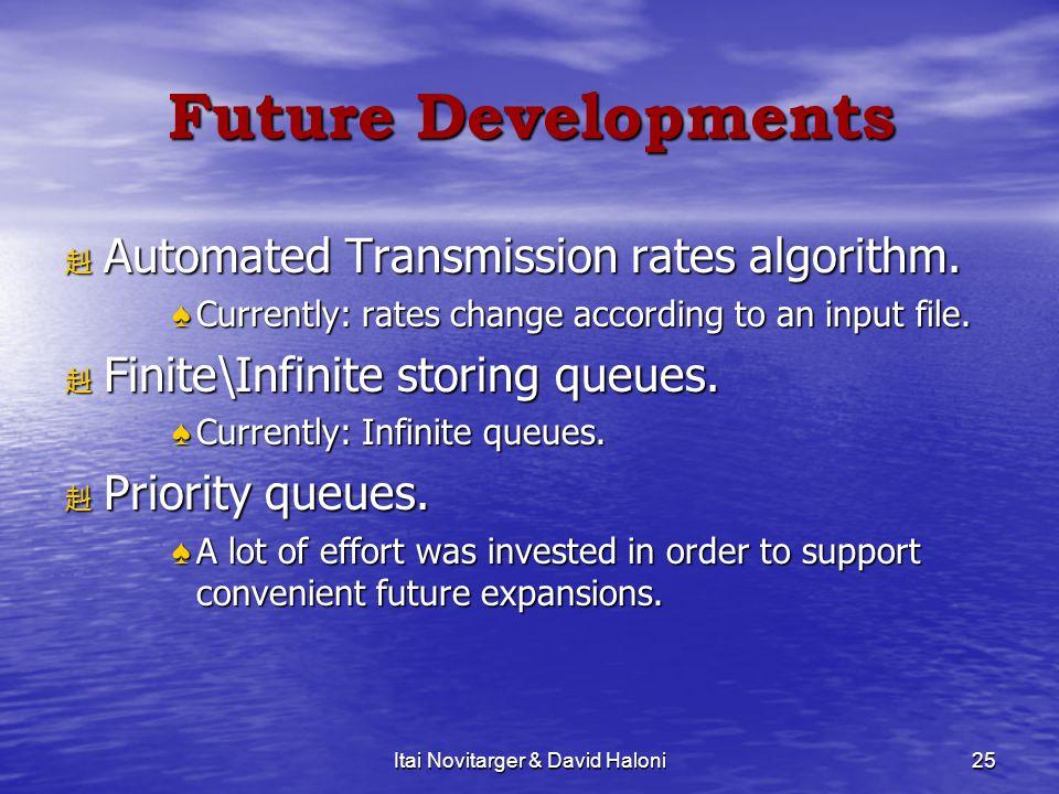 Itai Novitarger & David Haloni25 Future Developments 赳 Automated Transmission rates algorithm.