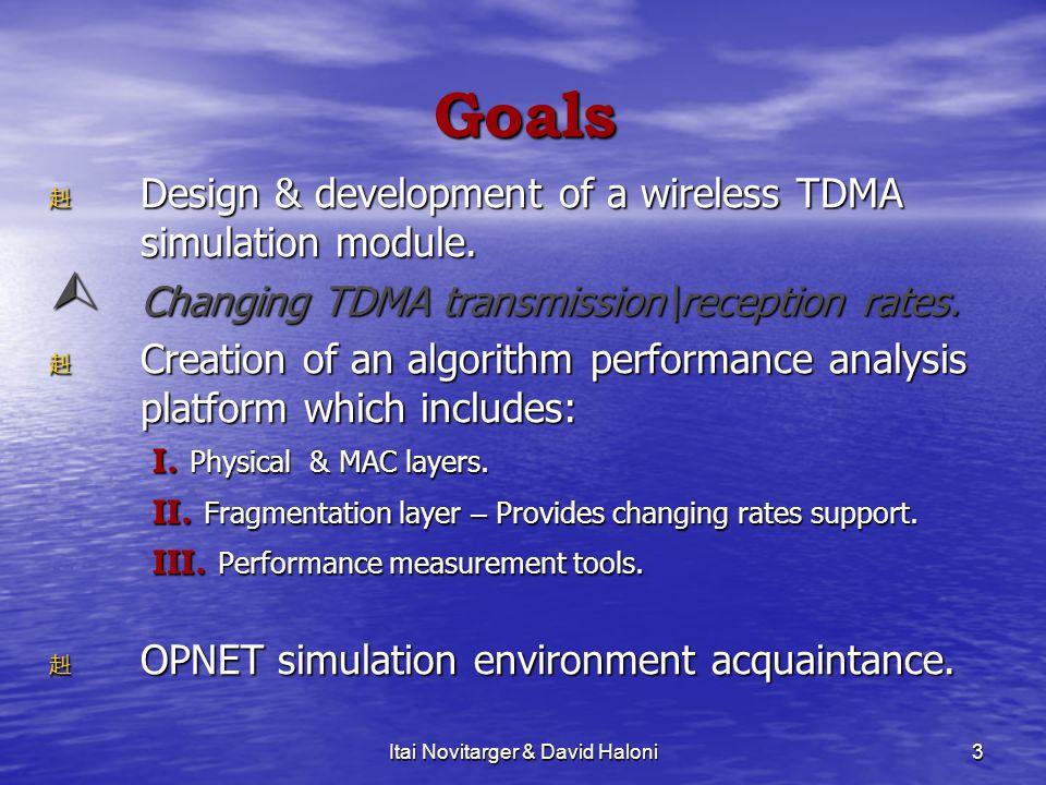 3 Goals 赳D赳D赳D赳Design & development of a wireless TDMA simulation module. CCCChanging TDMA transmission\reception rates. 赳C赳C赳C赳Creation of an alg