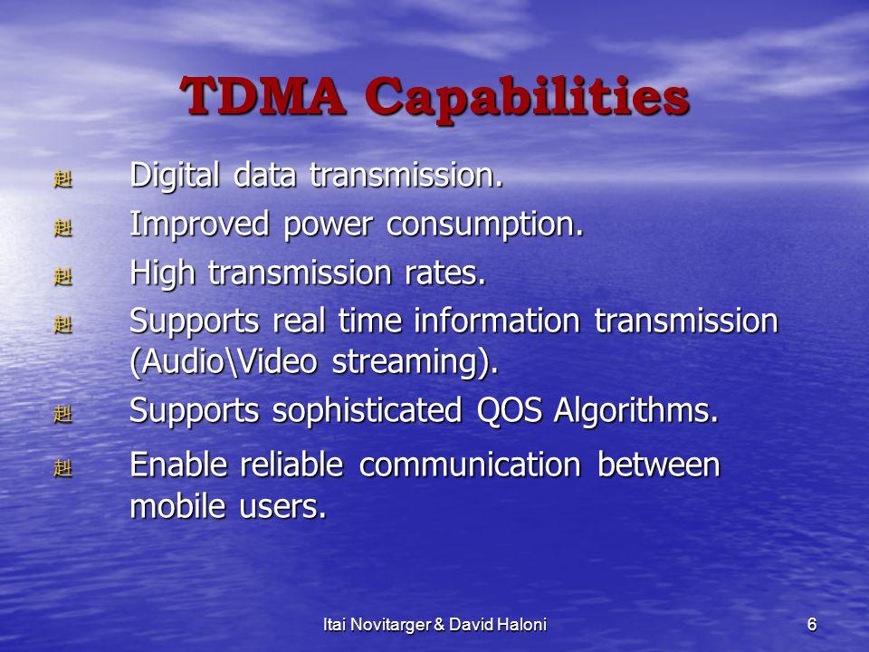 Itai Novitarger & David Haloni6 TDMA Capabilities 赳 Digital data transmission. 赳 Improved power consumption. 赳 High transmission rates. 赳 Supports rea