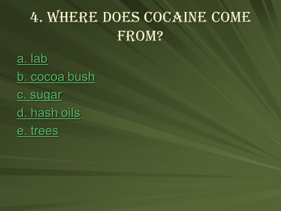 4. Where does cocaine come from. a. lab a. lab b.