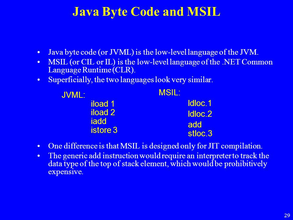 29 Java Byte Code and MSIL Java byte code (or JVML) is the low-level language of the JVM. MSIL (or CIL or IL) is the low-level language of the.NET Com