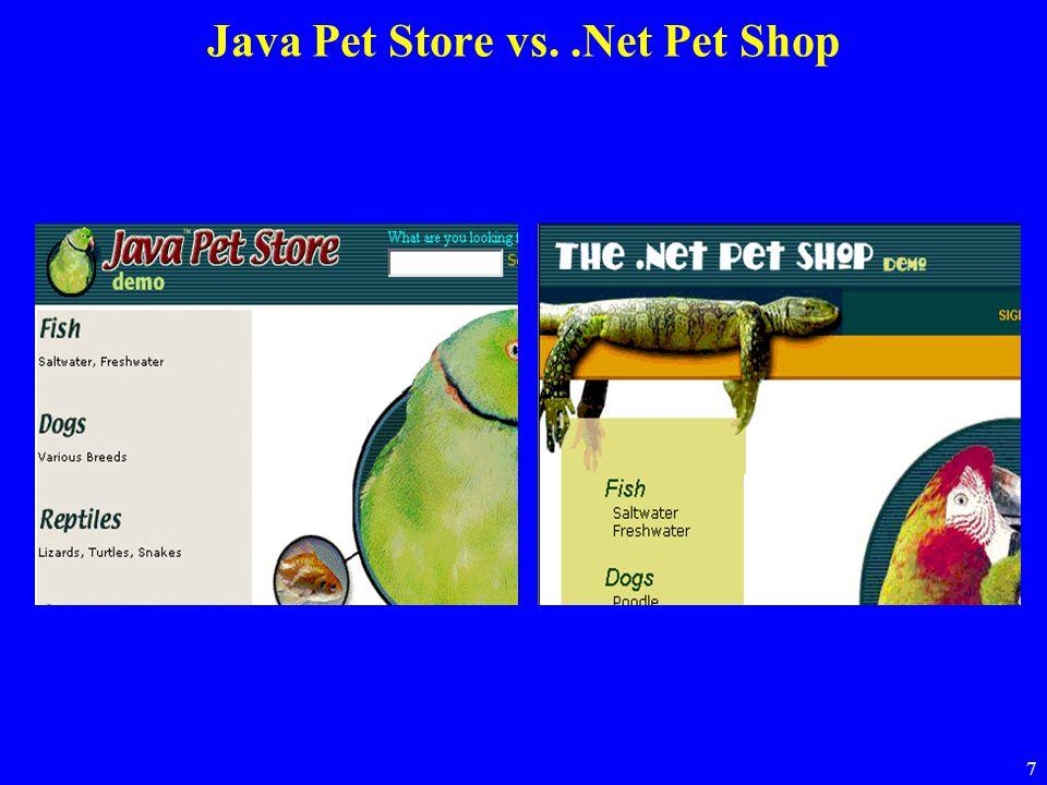 7 Java Pet Store vs..Net Pet Shop