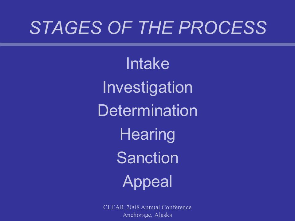 CLEAR 2008 Annual Conference Anchorage, Alaska STAGES OF THE PROCESS Intake Investigation Determination Hearing Sanction Appeal