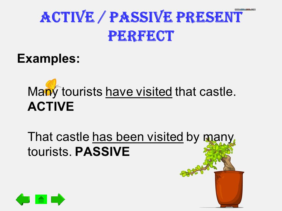 ACTIVE / PASSIVE Present Perfect Examples: Many tourists have visited that castle.