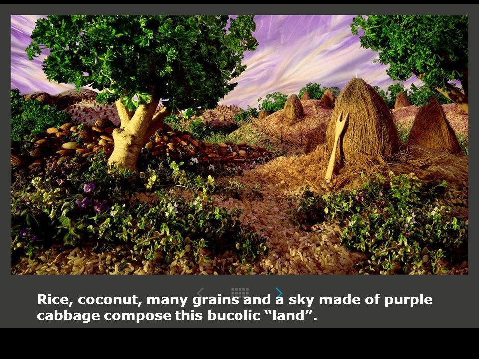 """Rice, coconut, many grains and a sky made of purple cabbage compose this bucolic """"land""""."""