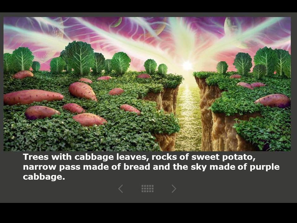 Trees with cabbage leaves, rocks of sweet potato, narrow pass made of bread and the sky made of purple cabbage.