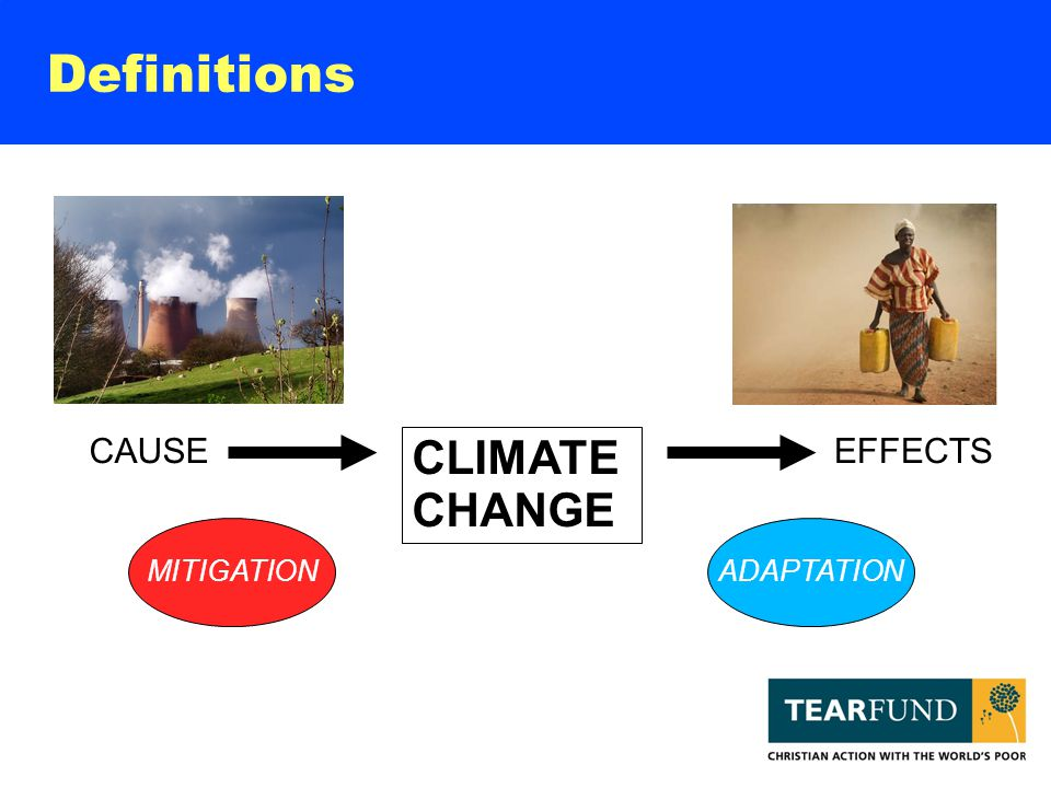 Definitions CLIMATE CHANGE CAUSEEFFECTS MITIGATIONADAPTATION