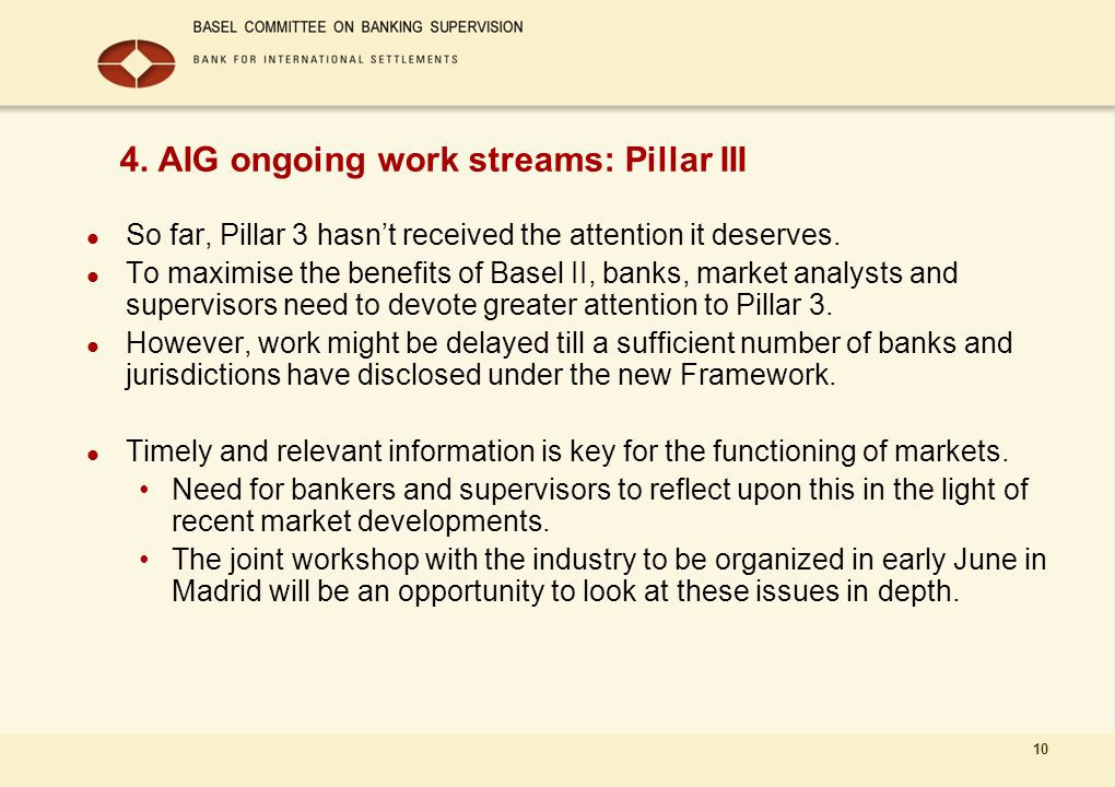 10 4. AIG ongoing work streams: Pillar III So far, Pillar 3 hasn't received the attention it deserves. To maximise the benefits of Basel II, banks, ma
