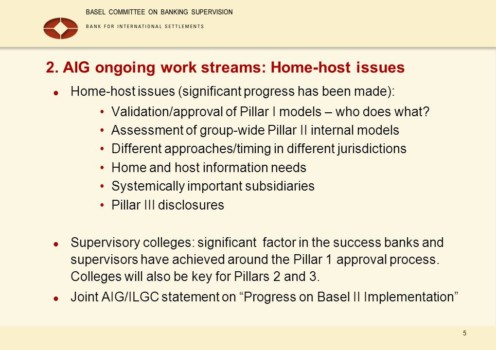 5 Home-host issues (significant progress has been made): Validation/approval of Pillar I models – who does what? Assessment of group-wide Pillar II in