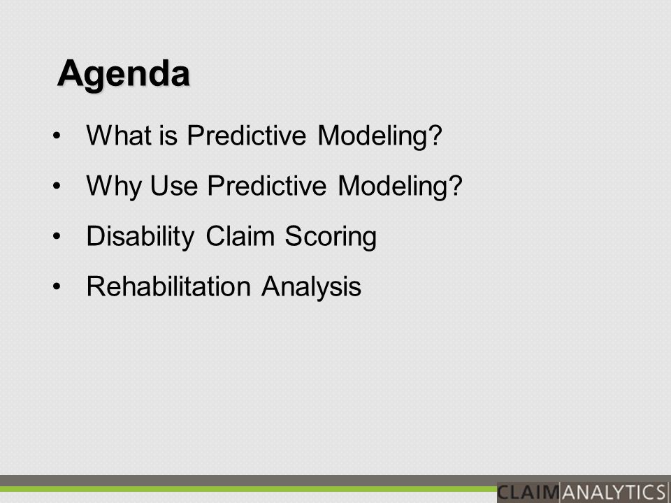 Claims scored from 1 to 10 based on likelihood of recovery within a given timeframe Scores are objective and accurate Scores calibrated to probability of recovery What is claims scoring.