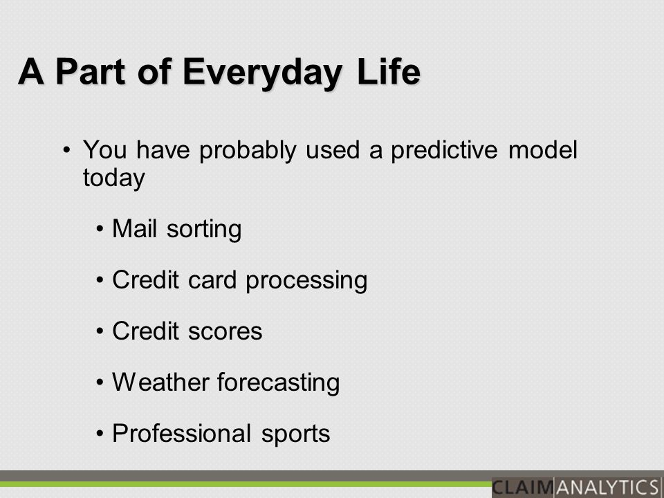 1.Model presented with your historic claim data, including known outcomes.